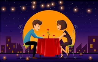 Romantic Date Of Man And Woman vector
