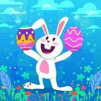 Cute Easter Rabbit Holding Easter Egg vector