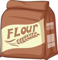 Un paquete de harina sobre un fondo blanco. vector