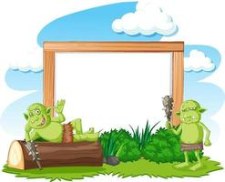 Empty banner with troll or goblin elements vector