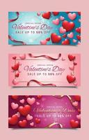 Valentine's Day Promotion Banners with Heart Accent vector