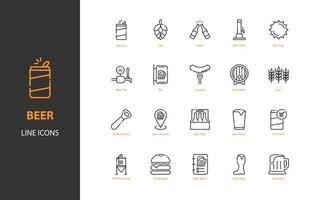 conjunto de iconos de línea fina de cerveza, cervecería, bebidas, alcohol vector