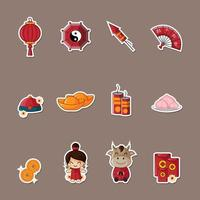 Chinese New Year Sticker vector