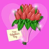 ramo de flores de san valentín sobre fondo rosa vector
