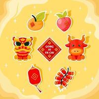 Collection Sticker Gong Xi Fa Cai vector