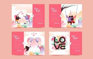 Valentine Dinner Date Card Invitation Collection vector