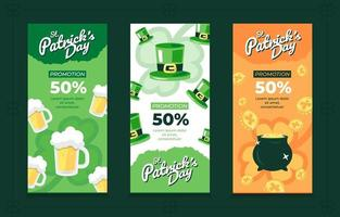 Pack of 3 Vertical Banner Templates for St. Patrick's Day vector