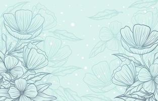 Beautiful Hand Drawn Floral with Blue Background vector