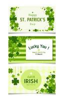 Set of ST. Patrick's Day Banner with Clover Element vector