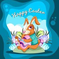 Cartoon of Happy Easter Rabbit vector