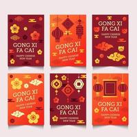 Gong XI Fa Cai Cards With Tradition Elements vector