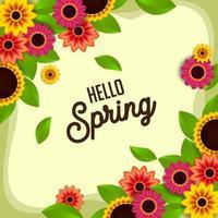 Flourish Hello Spring Design Template vector