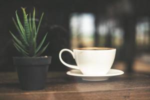 Vintage tone cup of hot latte