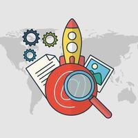 tecnología de marketing digital con lanzamiento de cohetes vector