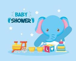 tarjeta de baby shower con lindo elefante vector