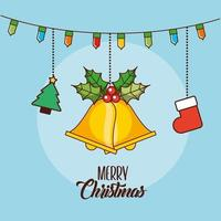 Merry Christmas card with ornaments hanging