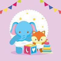 tarjeta de baby shower con lindo elefante y zorro vector