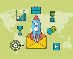 tecnología de marketing digital con sobre. vector