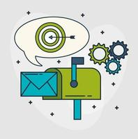 digital marketing technology with mailbox vector