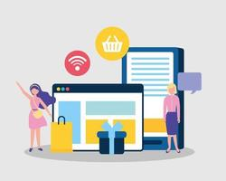 Online business concept with people vector