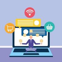 Online business concept with laptop vector