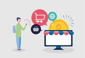 Online shopping concept with a person and computer vector