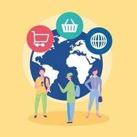 Online shopping concept with icons vector
