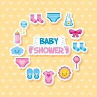 Baby shower card with cute icons vector