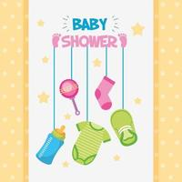 Baby shower card with cute icons hanging vector