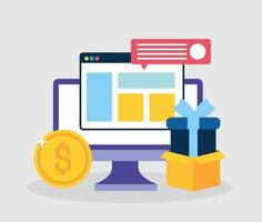 Social media marketing concept with computer vector