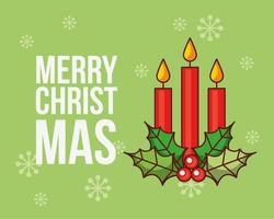 feliz navidad tarjeta con velas vector
