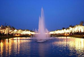 Schwerin, Germany, 2020 - View of lake and fountain at night photo