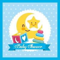 Baby shower card with cute moon and toys vector