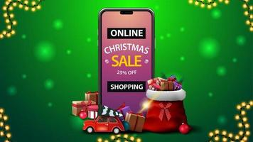 Online Shopping, Christmas sale, green discount banner withsmartphone with offer on screen, Santa Claus bag with presents and red vintage car carrying Christmas tree