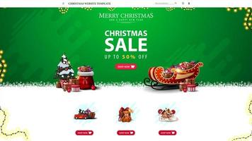 Christmas website template with discount offer, green Christmas website design for your creativity