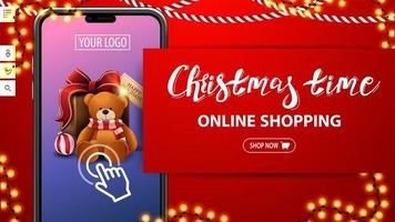 Christmas time, online shopping, red discount banner with large smartphone with present on screen. Discount banner for your website