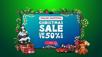 Online Shopping, Christmas sale, discount banner with large tablet with offer and button on screen and Christmas tree in a pot with gifts