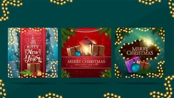 Merry Christmas and Happy New Year, greeting square postcards with Christmas presents, garlands, frame of Christmas tree branches and beautiful letterings