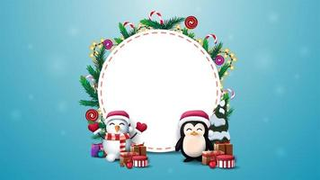 Blank round Christmas template for your text decorated with Christmas tree branches, candies and garlands