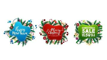 Large collection of Christmas greeting and discounts web elements in liquid style with abstract fluid shapes decorated with Christmas tree branches