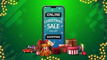 Online Shopping, Christmas sale, up to 25 off, discount banner with smartphone with offer on screen and presents around