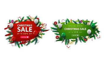 Collection of Christmas discounts web banner with abstract ragged shapes decorated with Christmas tree branches, candies and garlands.