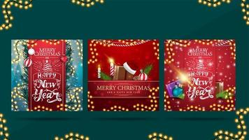 Set of greeting square Christmas postcards with beautiful letterings and Christmas presents. Christmas cards ready to print