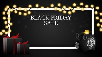 Black Friday sale, discount horizontal template for your art with copy space, gifts and piggy bank
