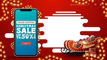 Online Shopping, Christmas sale, up to 50 off, red discount template with smartphone with offer and button on screen, copy space and Santa Sleigh with presents