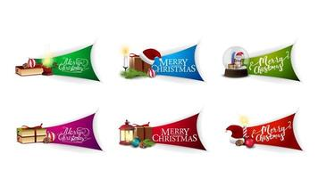 Collection of Christmas greeting stickers with beautiful letterings and Christmas icons. Greeting Christmas stickers isolated on white