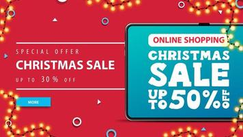 Online Shopping, Christmas sale, up to 50 off, red discount banner with tablet with offer on screen. Modern Christmas discount banner