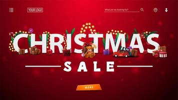 Christmas sale, red discount banner with 3D white great headline decorated with presents, Christmas tree branches, candies and garlands, large offer and button.