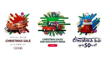 Collection of Christmas discounts web elements in liquid style with decorated with Christmas tree branches