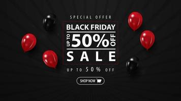 Black friday sale, up to 50 off, horizontal web banner for your business. Black discount banner with balloons